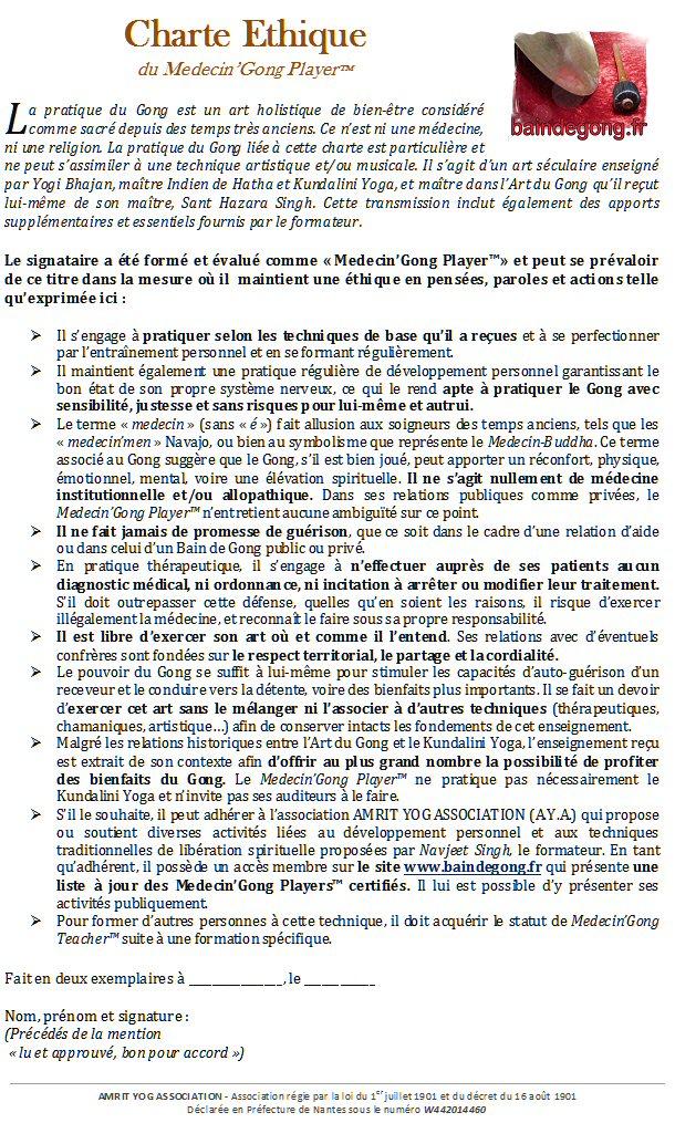 Charte Ethique du Medecin'Gong Player